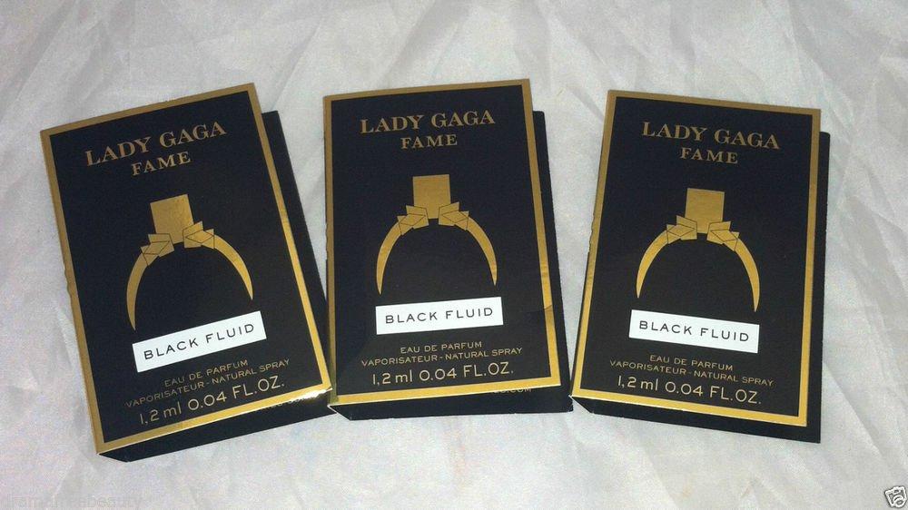 Lady Gaga Fame Eau De Parfum * BLACK FLUID * 3pc Travel/Sample Lot New  Carded
