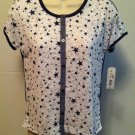 Arizona Jean Co Girls Blue/White Marled Stars Tee T-Shirt Size 18 XXL Brand New