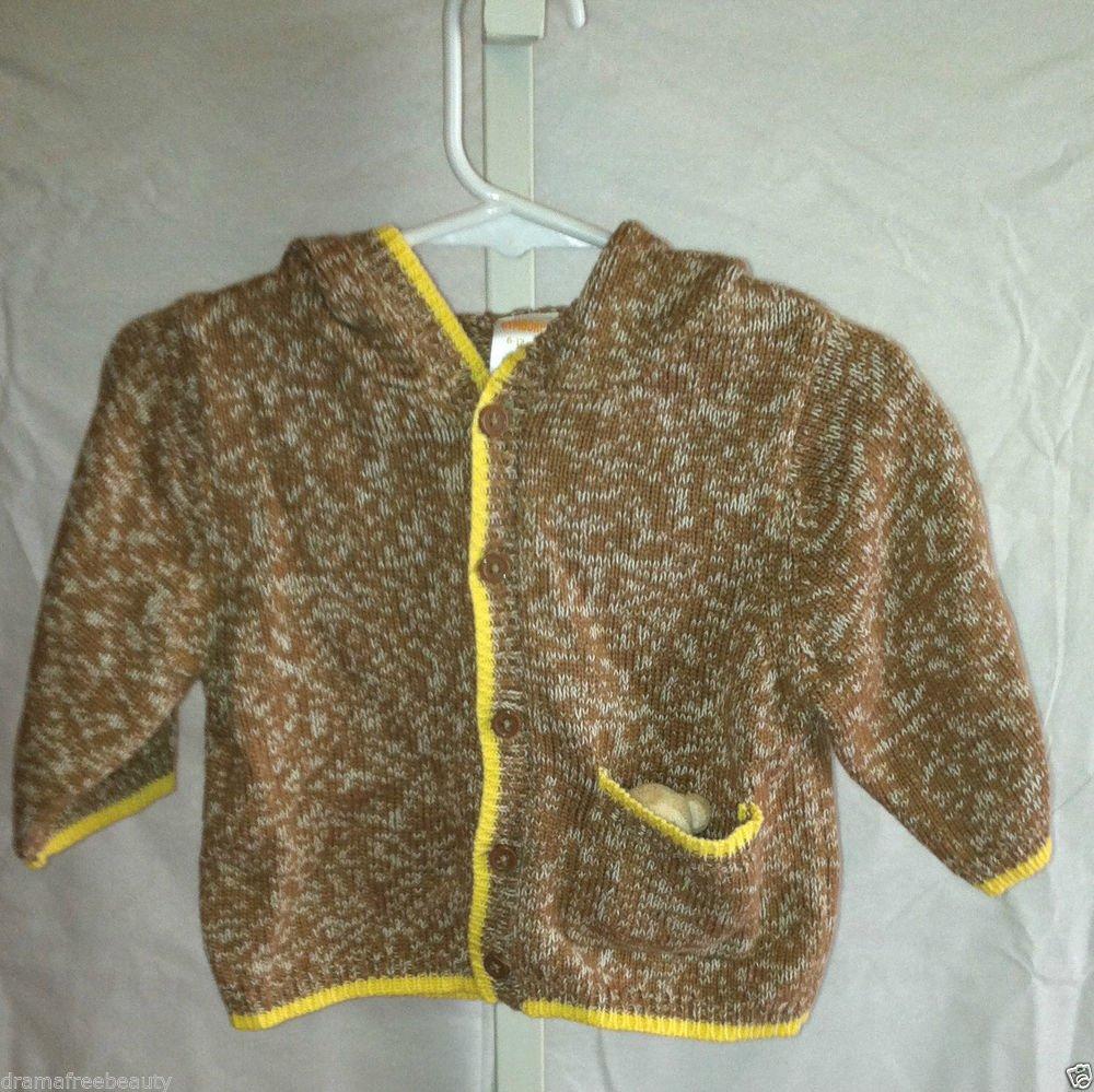 Gymboree Knit Button up Hoodie Long sleeve w/ Ears on Hood Monkey Theme BNWT
