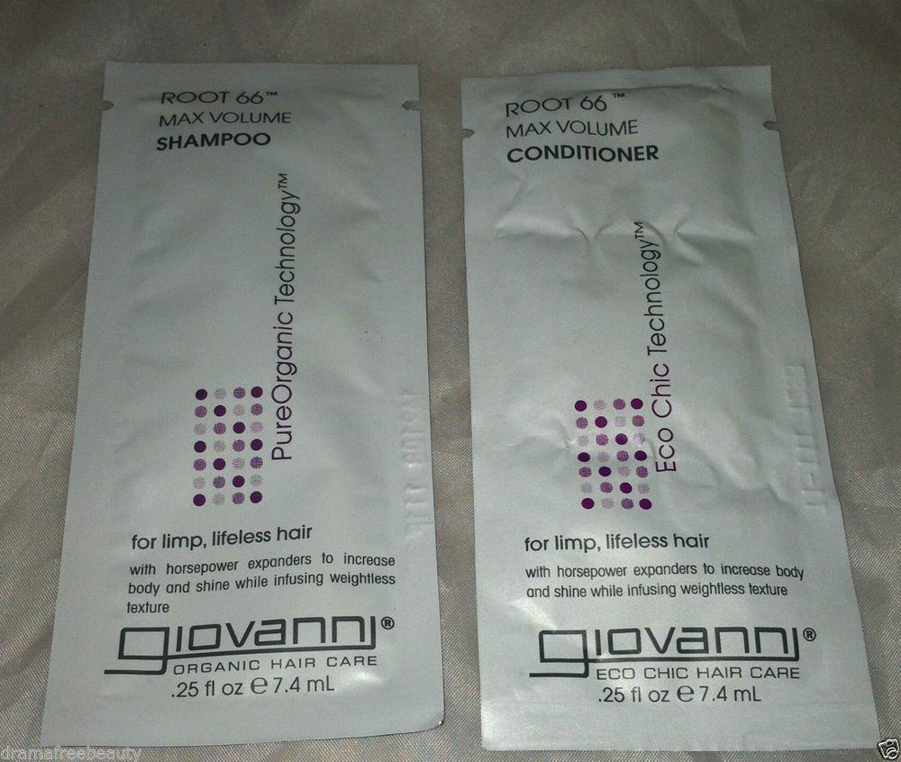 Giovanni Root 66 Max Volume  Shampoo & Conditioner 2pc Travel/Sample  Lot