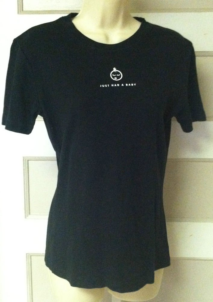 """Womens Medium/M Solid Black """"Just Had A Baby"""" Cotton Stretch T-Shirt /Tee /Top"""