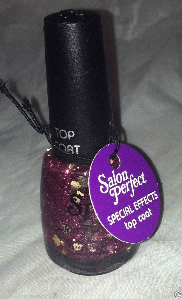 Salon Perfect Polish Top Coat * 615 HEARTS A FLUTTER * Pink w/ Champagne Hearts