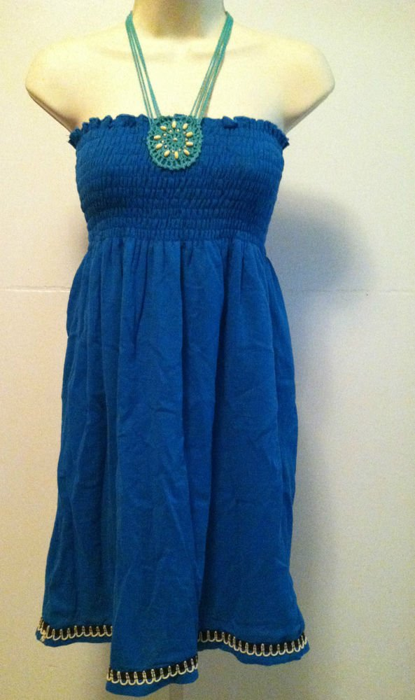 Ever-Pretty Womens Teal Blue Smocked Strapless Halter-Neck Tie Sundress BNWT