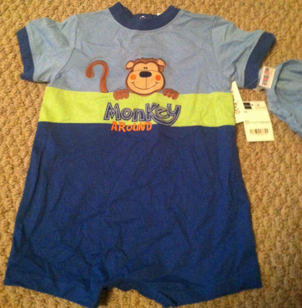 Okie Dokie Boys/Toddlers 12 Months One-piece/Onesie/Body Suit BNWT Moneky Desig