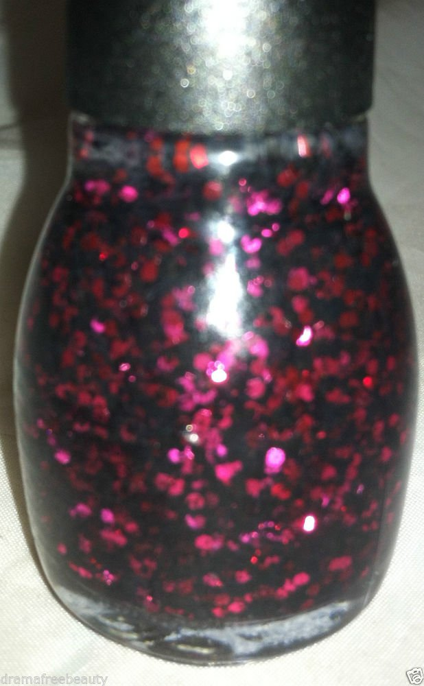 Sinful Colors Nail Polish * UNWRAP ME * Red Hex w/ Multi-Size Black Glitter New