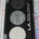 L.A. Colors 3 Color Eyeshadow Trio *LILY* Smoky Black, Silver & White BN &Sealed