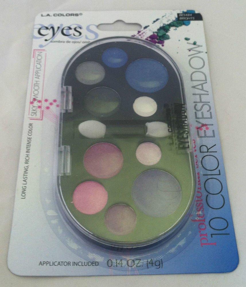 L.A. Colors 10 Color Eyeshadow Palette BES484 Brights Long Lasting Rich Color BN