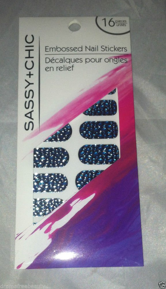 Sassy + Chic Embossed Nail Stickers 16ct * BLUE GREEN BLACK * Brand New