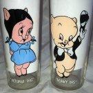 Vintage Warner Bros Glass 2pc Lot 1973 PETUNIA PIG & PORKY PIG Set Rare