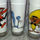 Vintage Warner Bros Glass 3pc Lot 1973 SPEEDY GONZALES ROAD RUNNER BEAKY BUZZARD
