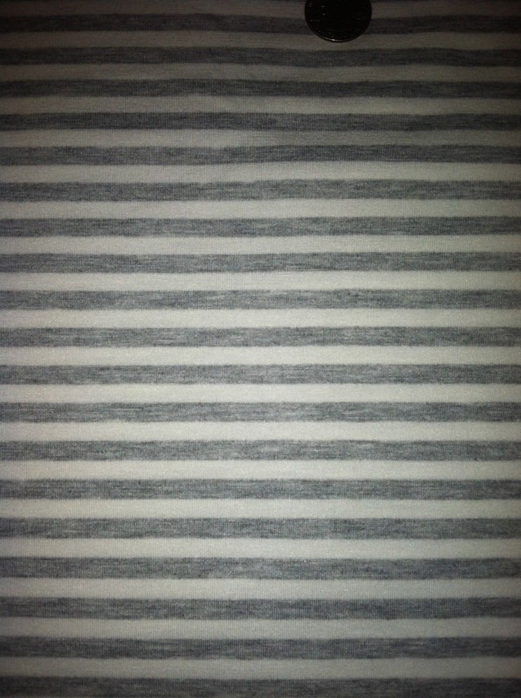 """White / Gray Striped Lightweight  Sewing Fabric 74"""" X 58"""" Stretch Cott. Material"""