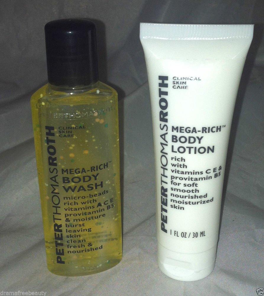 Peter Thomas Roth Mega Rich Body Wash Body Lotion 2pc Travel Lot Vitamins