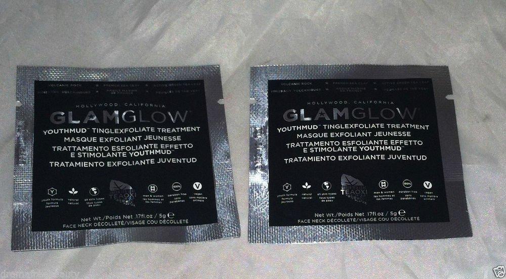 GlamGlow Youthmud Tingle Exfoliate Treatment 2pc Travel / Sample Lot Sea Clay Bn