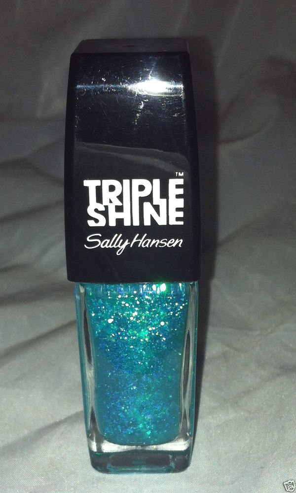 Sally Hansen Triple Shine * 340 SCALE UP * Sheer Teal Iridescent Flakes w/Blue