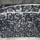 SUNO Makeup/Cosmetic Bag Cotton Canvas Material Black/Blue/Pink Floral Design BN