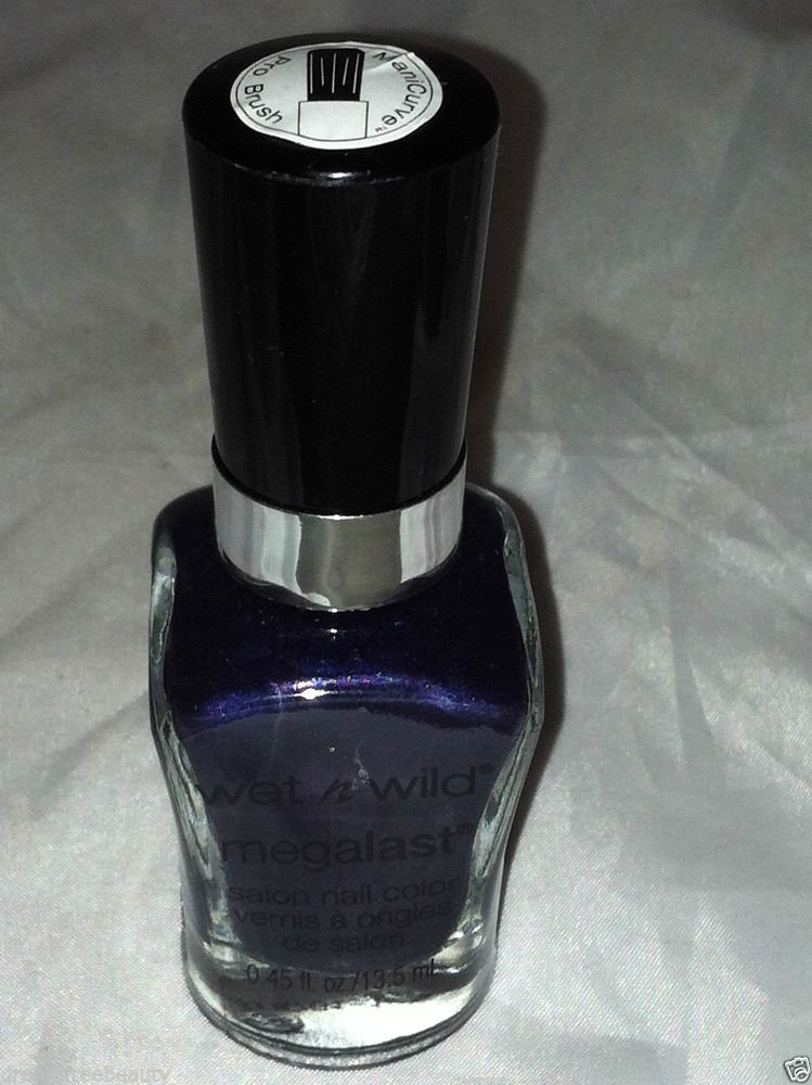 Wet n Wild Mega Last Nail Polish * TOXIC APPLE * Deep Blue Base w/Purple Shimmer