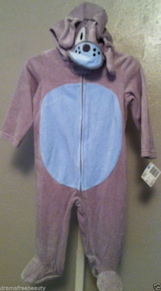 NWT Gray Puppy Dog Halloween Infant/Baby 6-9 Months Hooded Onesie/Outfit Costume