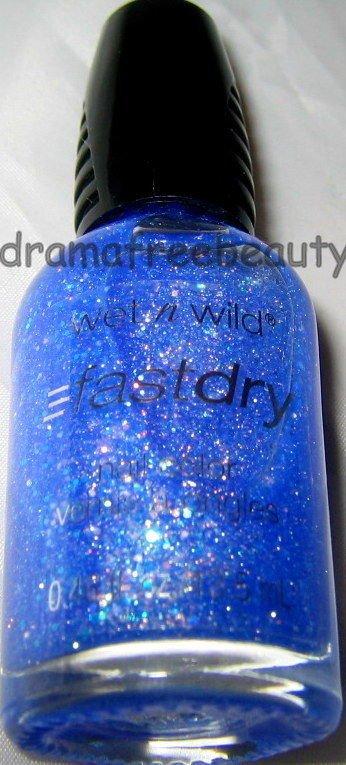 Wet n Wild PARTY ROCKS FastDry Nail Polish *BLING IT ON* Blue Jelly MultiGlitter