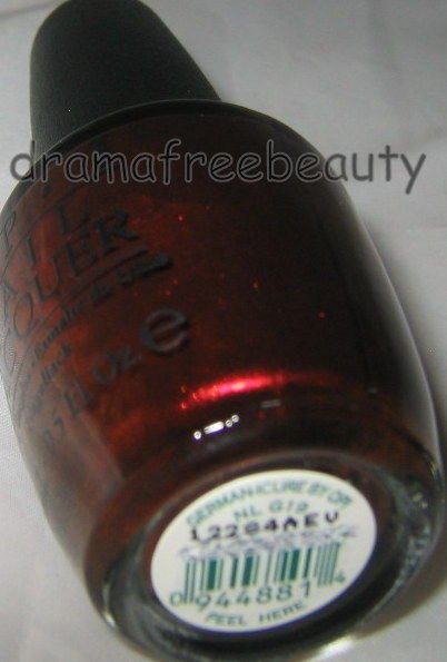 OPI Germany Nail Lacquer Polish *GERMAN-ICURE* Dark Vampy Brown Red Shimmer BNew