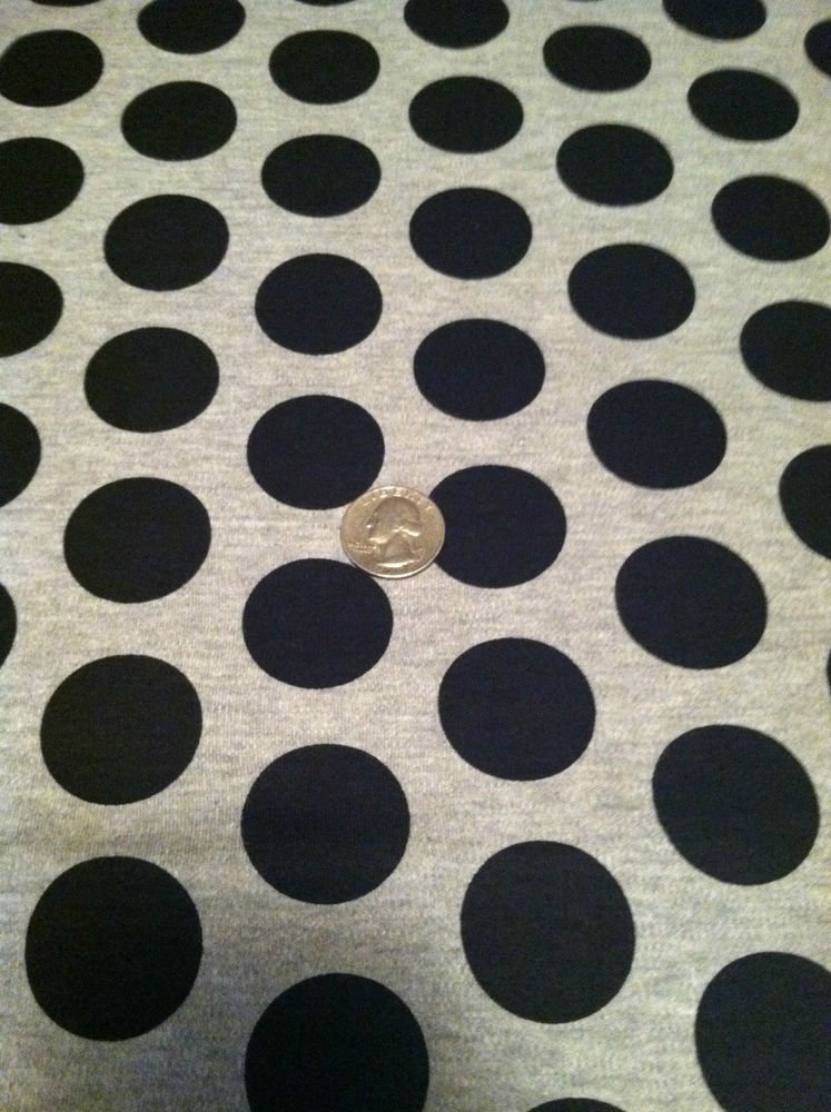"""Solid Gray with Black Polka Dots Sewing / Craft Fabric 62"""" X 37""""  100% Cotton"""