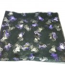 Sheer Black Fabric with Purple/Black Shimmery Spiders Material is See-Thru Type