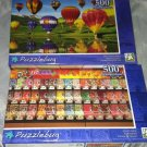2 Puzzlebug 500 Pieces *HOT AIR BALLOONS & CANDY SHOP* Puzzle Lot Sealed BN
