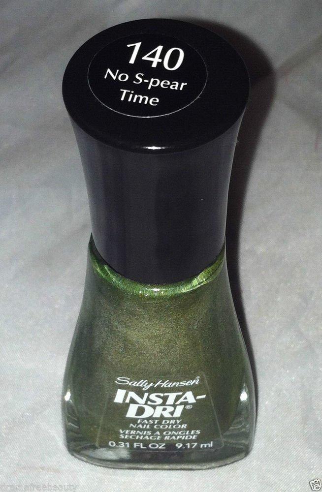Sally Hansen Insta Dri Nail Polish * 140 NO S-PEAR TIME * Olive Green Shimmer BN