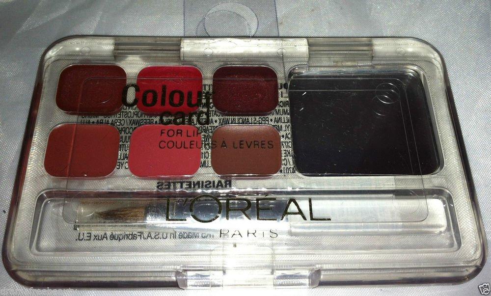 L'Oreal Colour Card For Lips *RAISINETTES* Mini Travel Palette Mirror + Brush BN