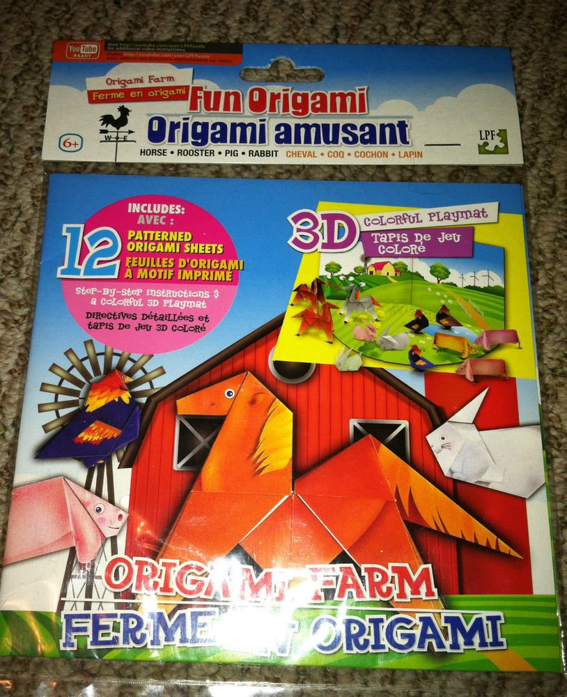 Fun Origami Farm 12 Patterned Origami Sheets Horse Rooster Pig Rabbit 3d Playma