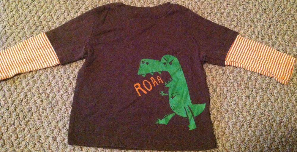 Circo Boys/Toddlers 18 Months Brown Long Sleeve Shirt/Top Roar Dinosaur Brown