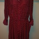 Xhilaration Womens Shirt Dress Burgundy Red White Polka Dots *Size Large L* BNWT
