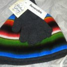 Faded Glory Multi-Color Reversible Winter Beanie/Knit Hat & Gloves Set Brand New