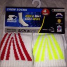BNWT 4 Pair STARTER Home/Away Game Crew Socks White w/Red/Yellow S/CH (6-9 1/2)