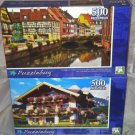 2 Puzzlebug 500 pc Puzzle Lot *HOMES STREET WATER/FLOWERS FARM HOUSE* Brand New