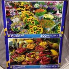 2 Puzzlebug 500 Pieces *FLOWER MARKET & CHILI PEPPERS* Puzzle Lot Sealed B. New