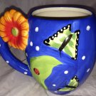 Pier 1 Imports Big White/Blue Polka Dots Butterfly Flower Ladybug Coffee Mug/Cup