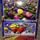 2 Puzzlebug 500 Pieces *HOT AIR BALLOONS* Flowers, Sky Puzzle Lot Sealed B. New