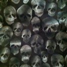 "White/Black/Dark Green Cracked * SKULLS * 100% Cotton Fabric Material 90"" X 40"""