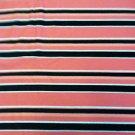 "Pink/Salmon/White/Black Striped Stripes Sewing Fabric Stretch Cotton 2yd X 60"""