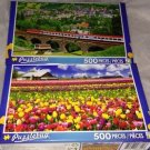 2 Puzzlebug 500 Pieces TULIP FARM &FEDERAL RAILWAY AUSTRIA Puzzle Lot Sealed New