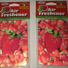 2 3D Car Air Freshener *STRAWBERRY* Scented w/Holder & 3 Scent Sticks BN Sealed