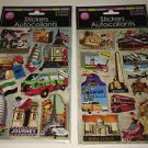 Hand Made 3D Stickers Scrap Book  Vaction Traveler World Locations 2 Sheets