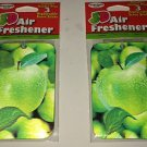 2 3D Car Air Freshener *GREEN APPLE* Scented w/Holder &3 Scent Sticks BN Sealed
