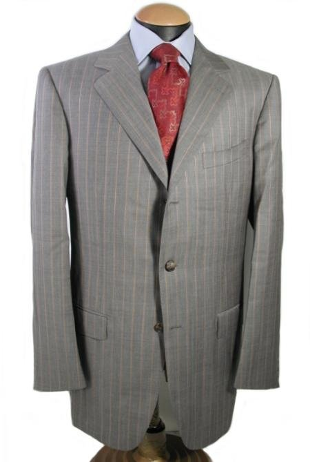 Mens 3 Buttons Light Gray Pinstripe Italian Super 150 Wool premeier quality italian fabric Suit