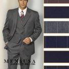 Mens 3 Buttons Black With Midum Not larege Pinstripe Itlaian Super 140's Wool Suit