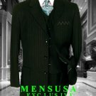 Men's 3 Piece 3 Buttons Vested Olive Green Pinstripe Super 120's Wool