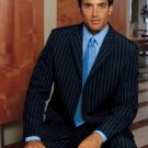 Joun pual Super 150 Wool 3-Button Dark Navy Pinstripe premeier quality italian fabric Suit Double Ve