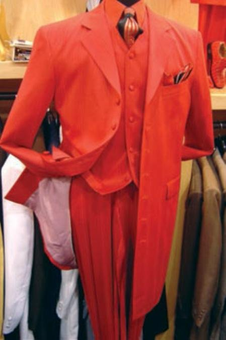 Men's Hot Red 3 Piece Fashion Zoot Suit + Shirt + Tie + Vest Package