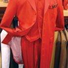 Men's Hot Red 3 Piece Fashion Zoot Suit + Shirt + Tie + Vest Package