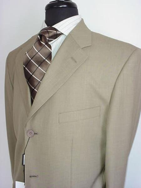 Men's Tan Men's Single Breasted Discount Dress 3 or 4 Button Suit